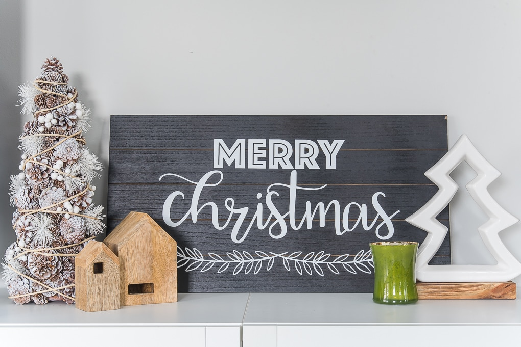 modern Christmas wooden sign black and white
