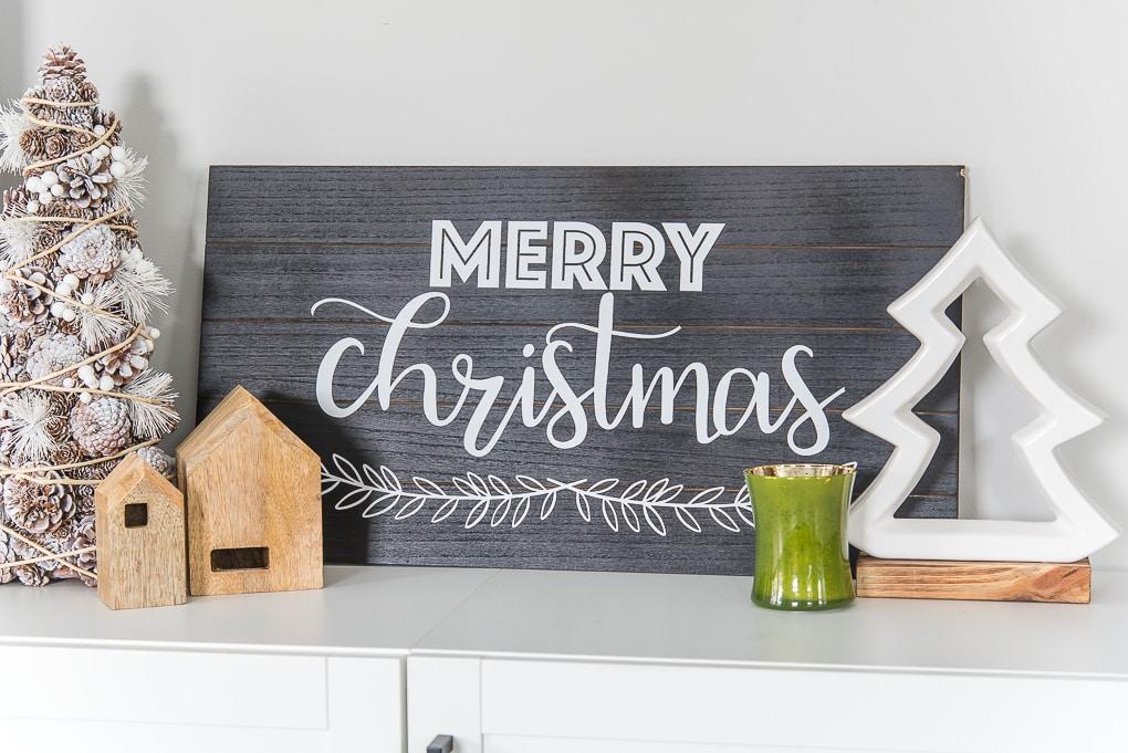 Merry Christmas modern wooden sign on media center