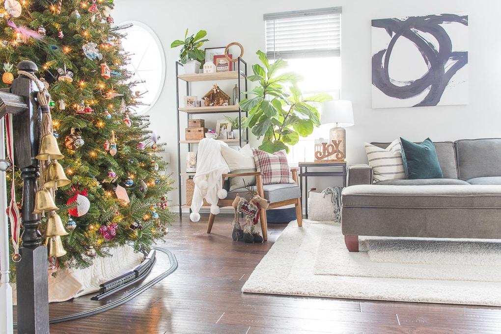 Modern classic Christmas living room home tour