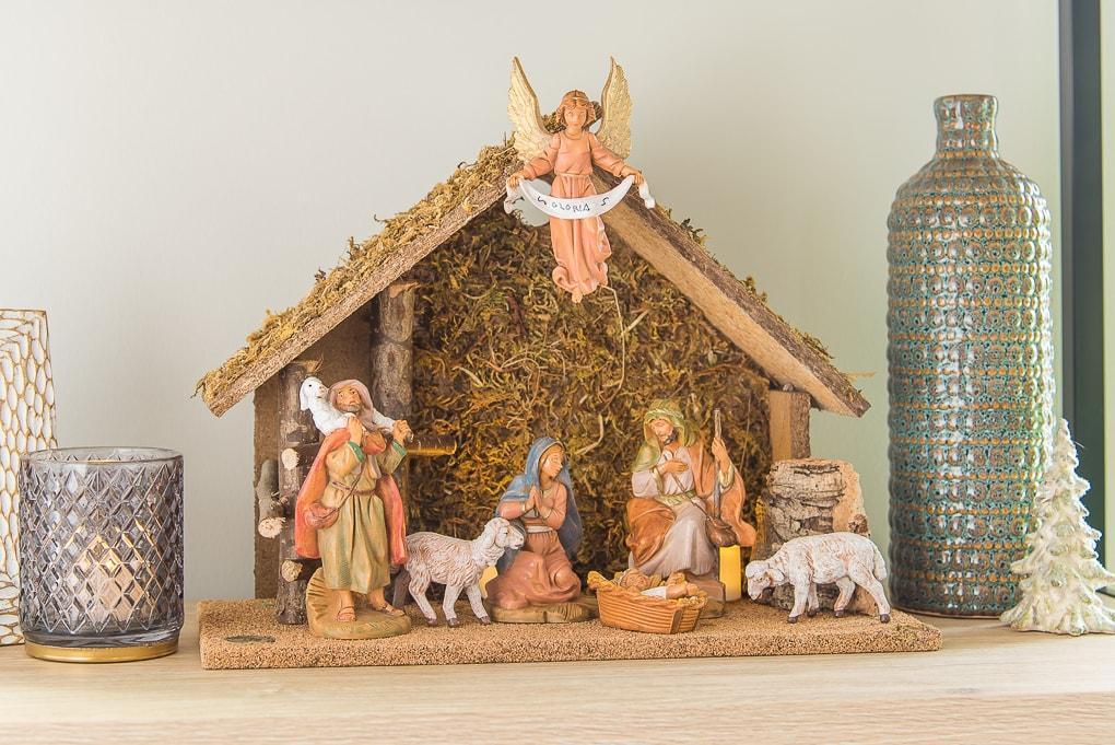 traditional nativity scene on shelf for Christmas