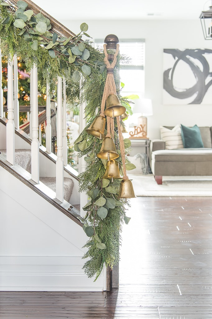 faux greenery Christmas garland with eucalyptus and gold bells