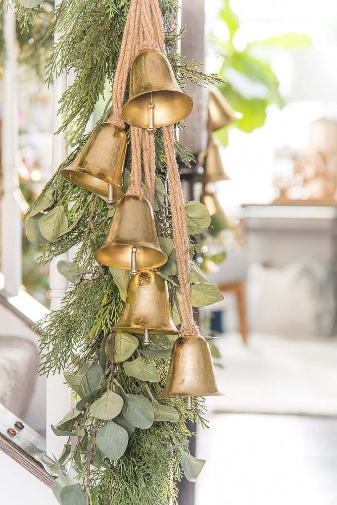 faux eucalyptus greenery with gold Christmas bells