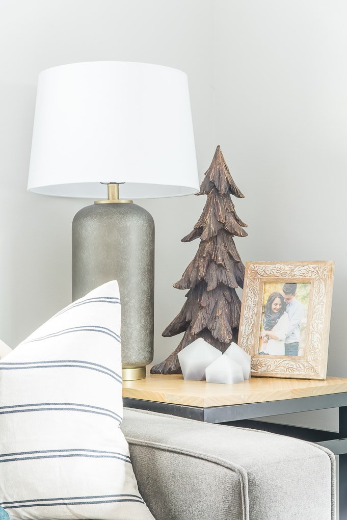 Wooden Christmas tree accent decor on end table