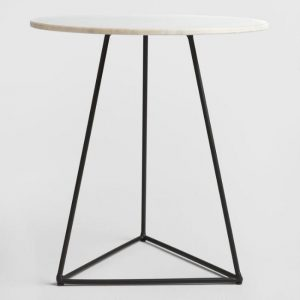 modern accent table world market white and black with marble top