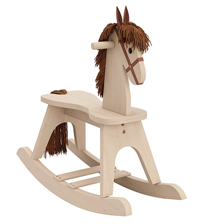 light wood rocking horse baby nursery