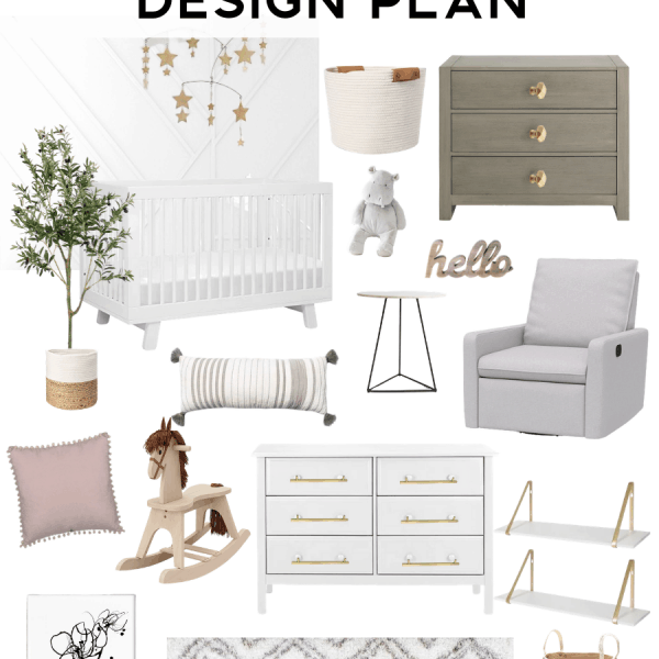 Neutral Feminine Nursery Design Plan Mood Board