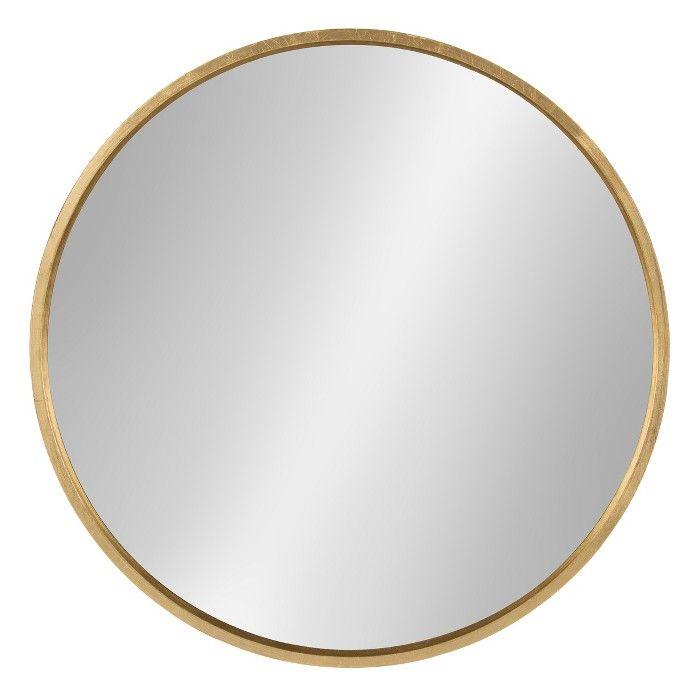 wooden gold round mirror