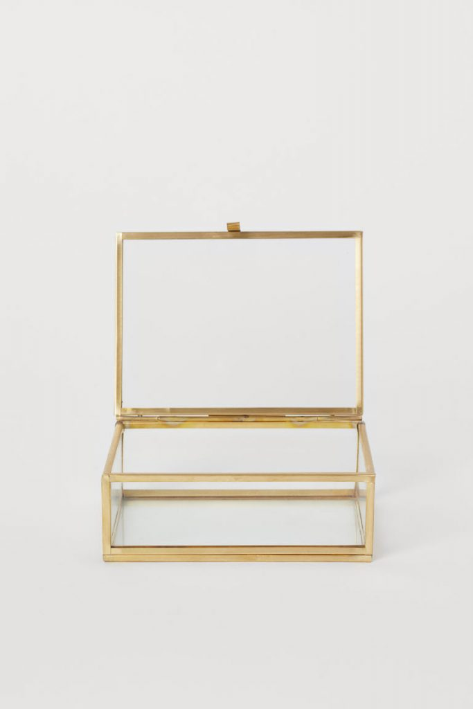 Gold glass decorative box H&M Home