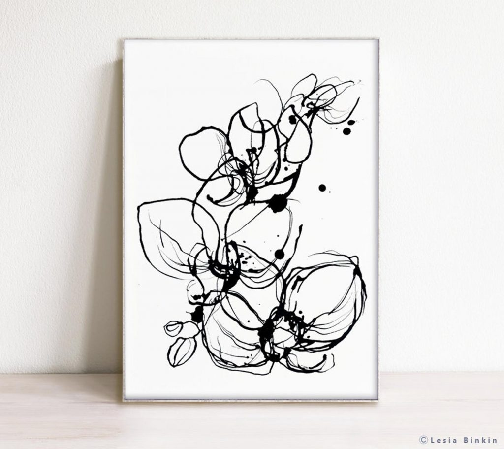floral black and white abstract art print digital download