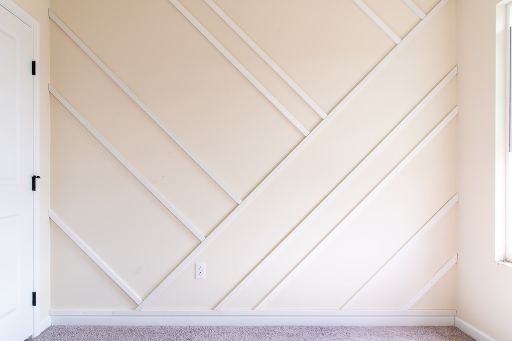 wood pieces of modern accent wall installed
