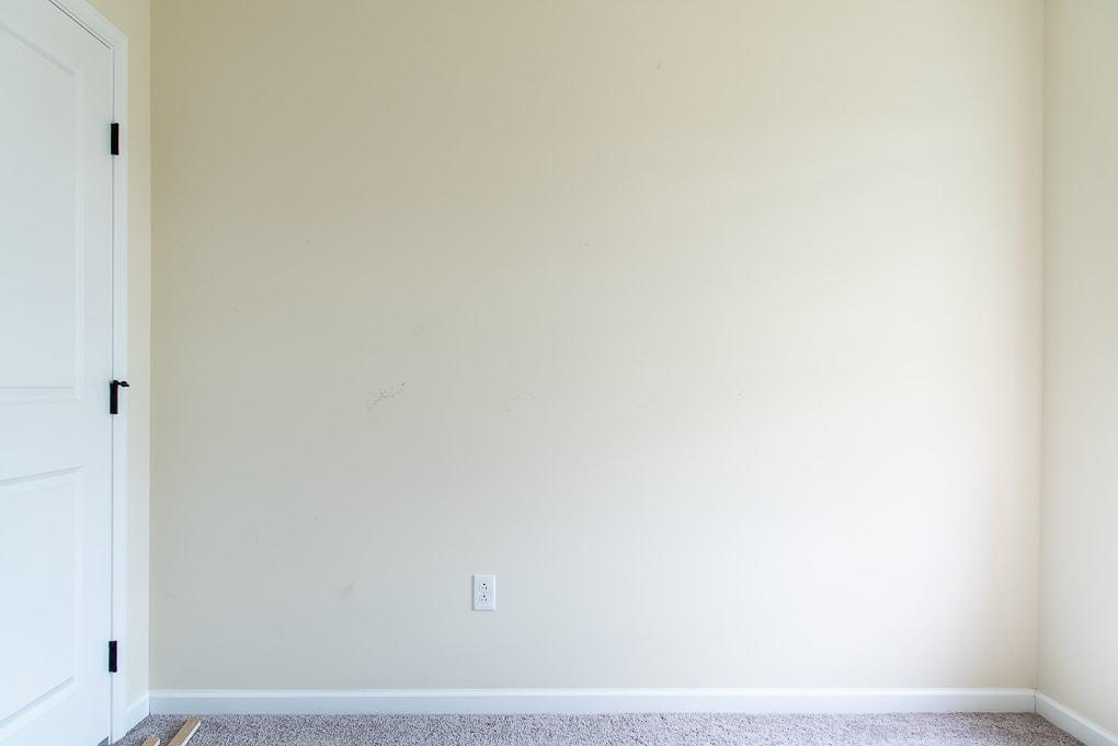 blank yellow wall in a nursery