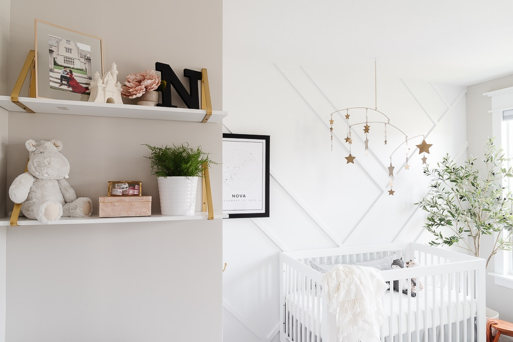 nursery decorative shelves and accent wall