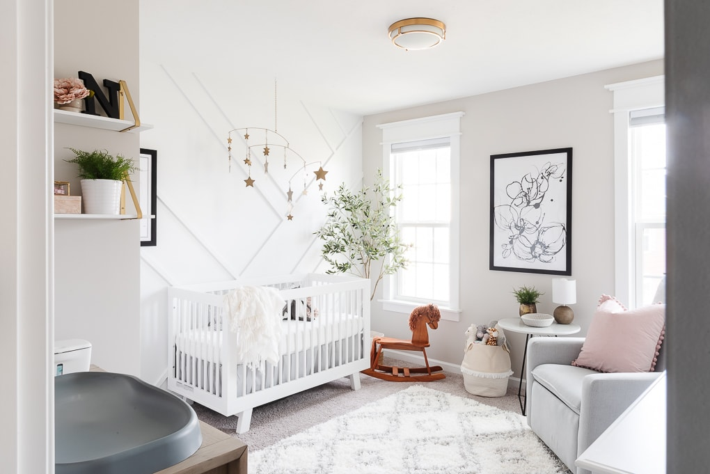 modern neutral feminine nursery for a baby girl