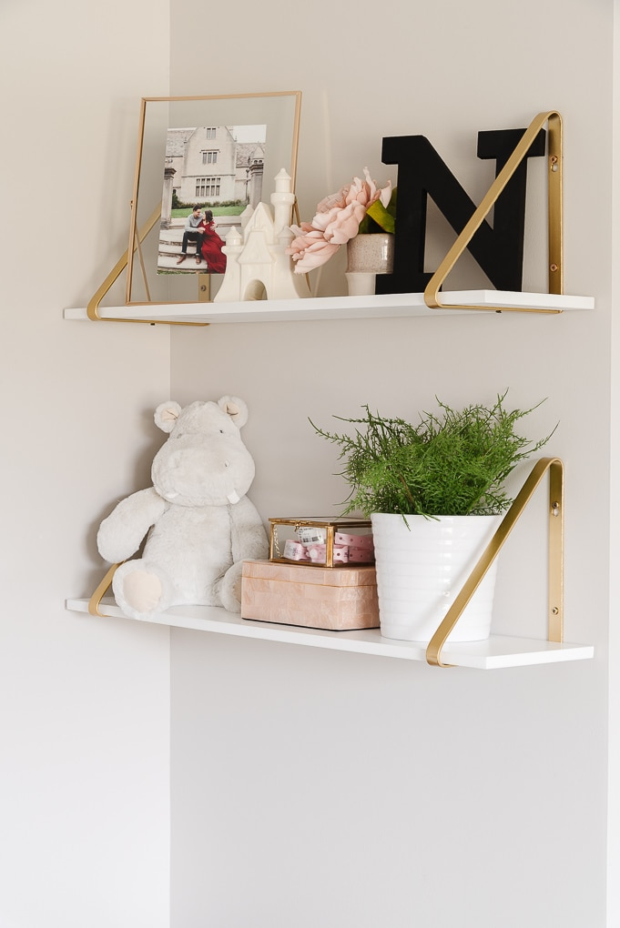 decorative shelves in a modern nursery