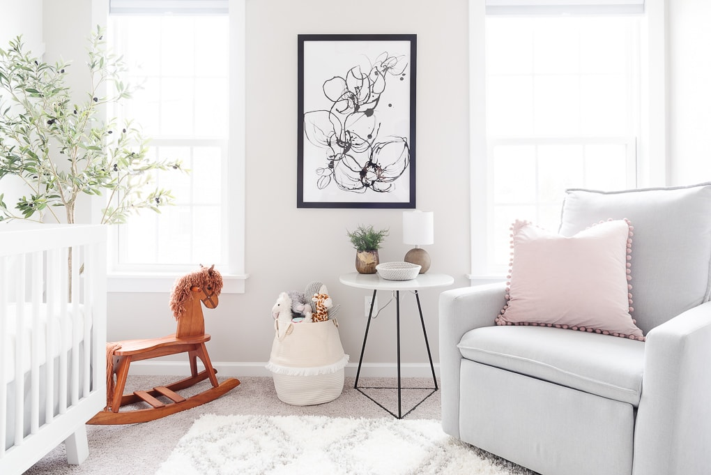 large modern floral art print framed in a neutral modern nursery