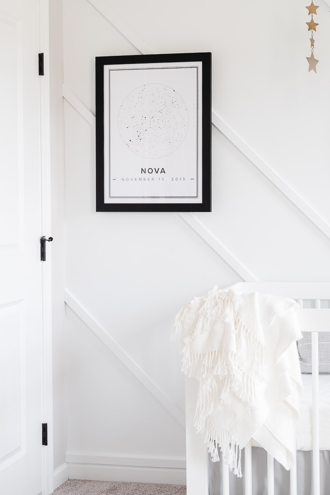 black and white star print from Mapiful framed on a modern accent wall in a neutral nursery