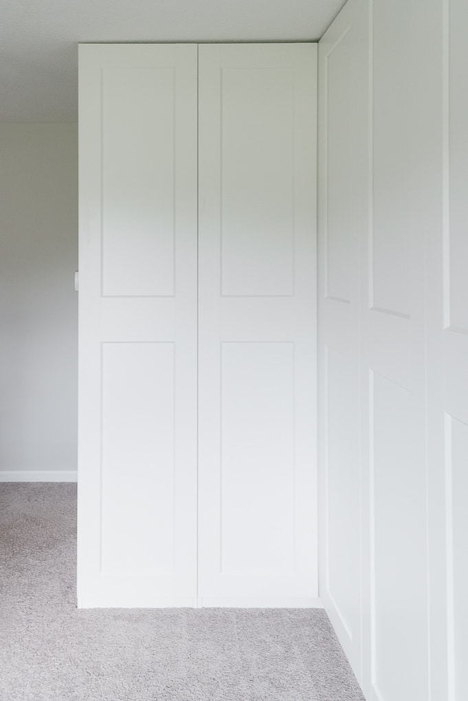 White IKEA PAX Wardrobe with GRIMO doors