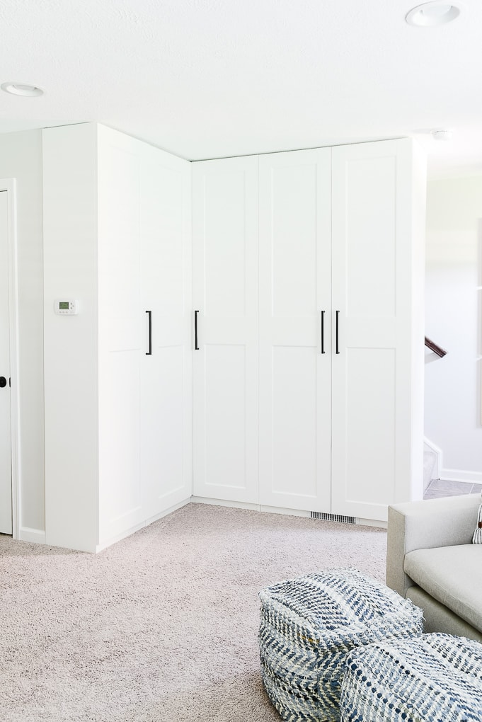 white IKEA PAX Cabinets with GRIMO doors