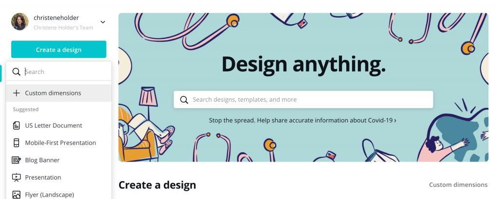 canva design software create a new design button