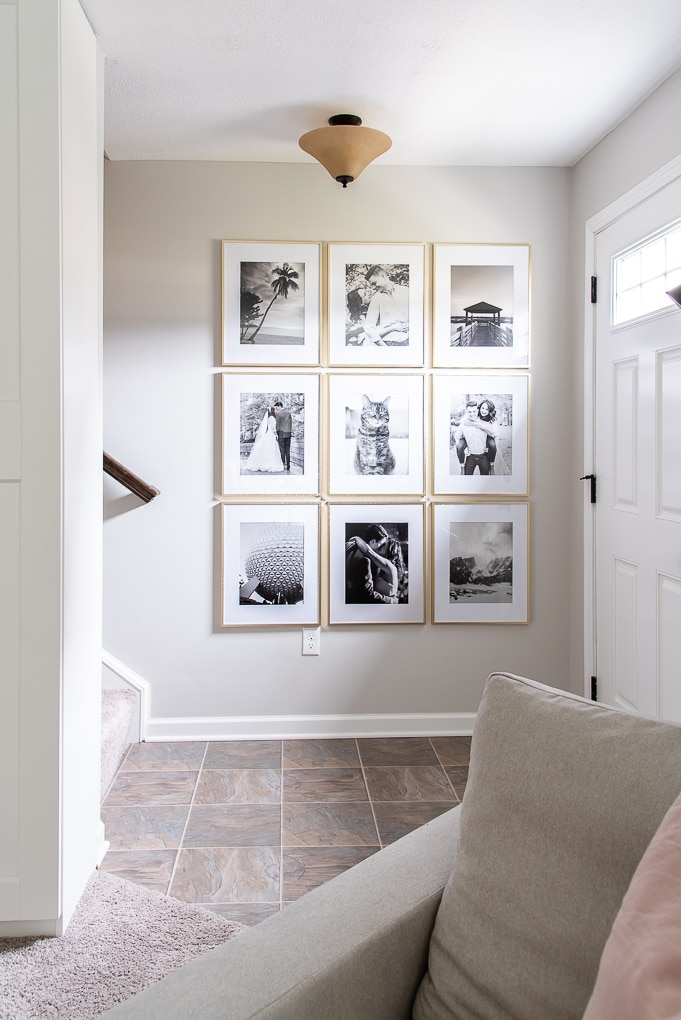 entryway decor gallery wall with gold frames