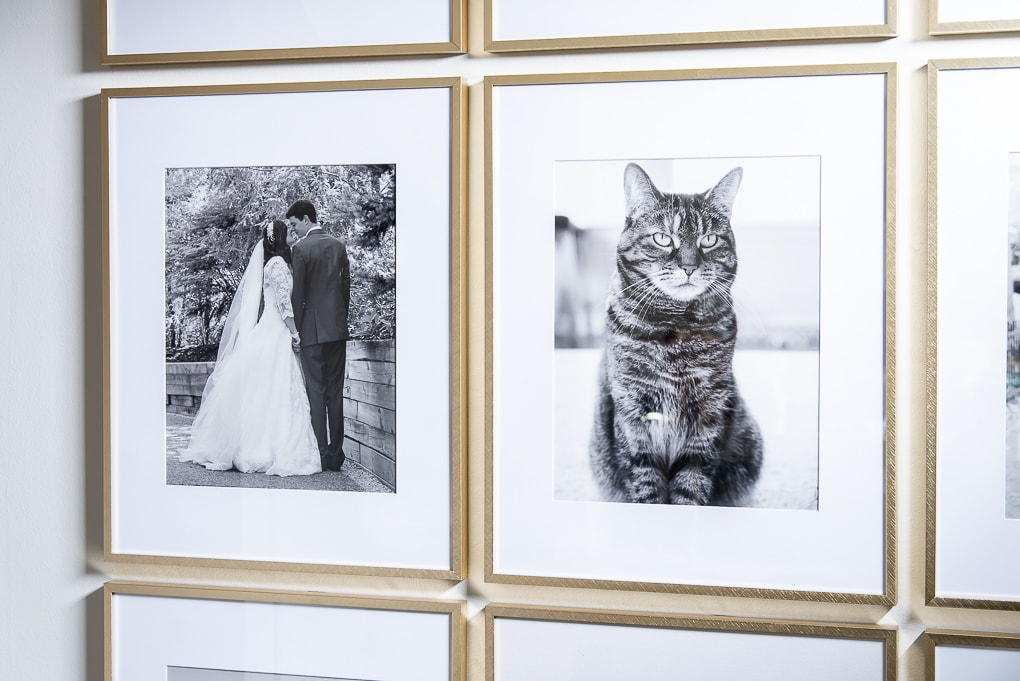 modern gallery wall black and white family photos in gold frames
