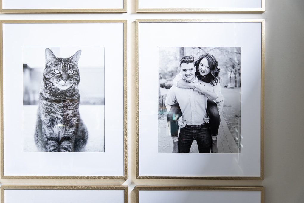 black and white family photos in gold frames on modern gallery wall