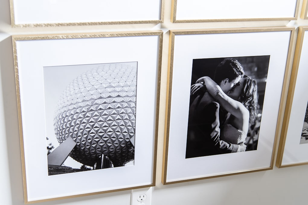 black and white family photos close up in modern galllery wall