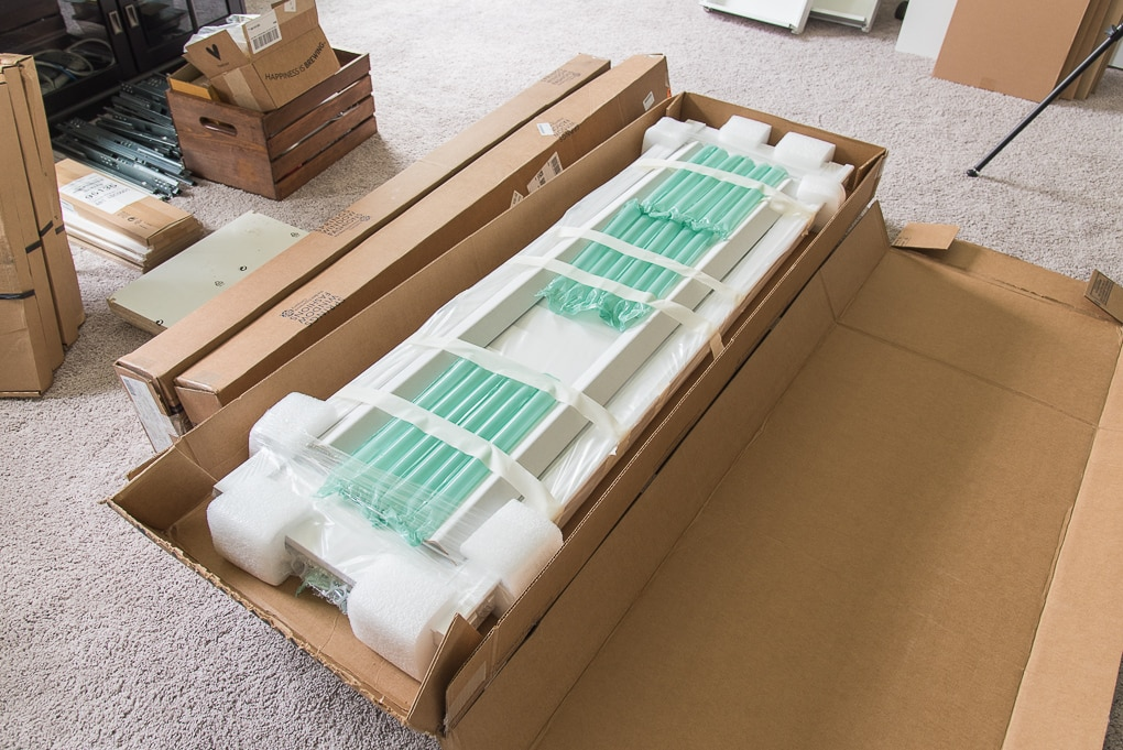 plantation shutters in packaging shipment unwrapped