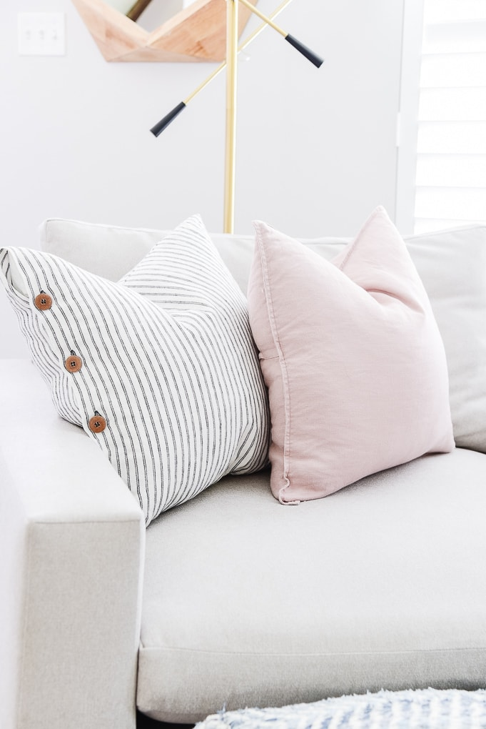 comfortable throw pillows on harmony accent chair from west elm