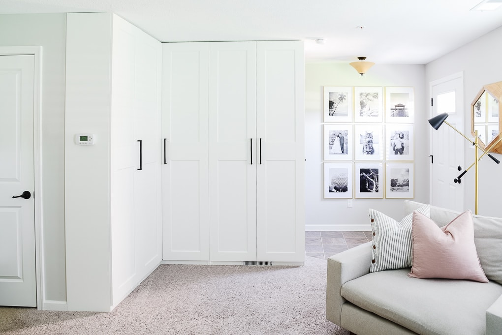IKEA PAX cabinets white in basement office