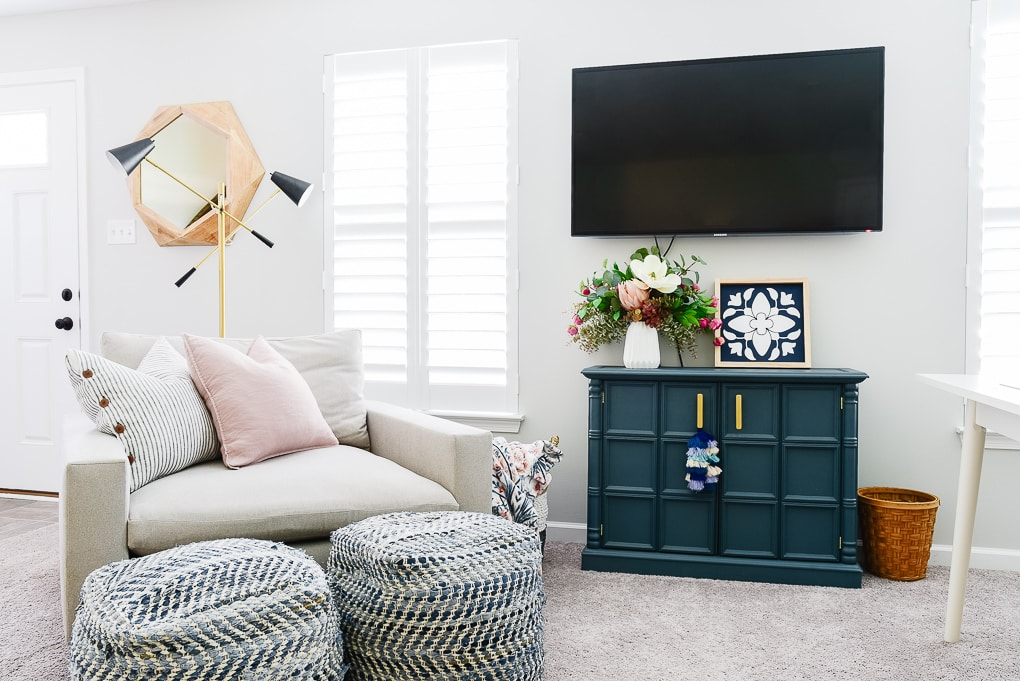 office corner with accent chair west elm harmony and tv area