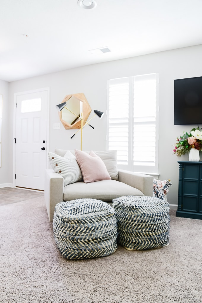 west elm harmony chair with blue poufs