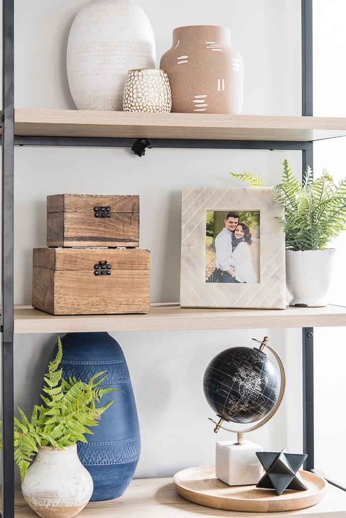 framed family photo on bookshelf