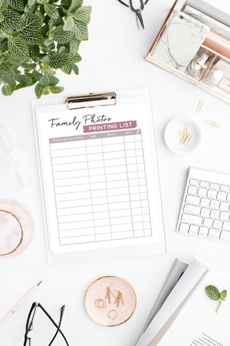 family photos printing list worksheet