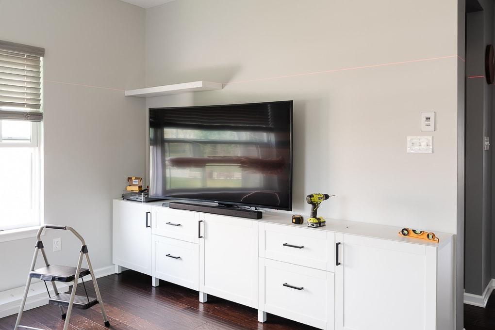 installing an IKEA LACK floating shelf small