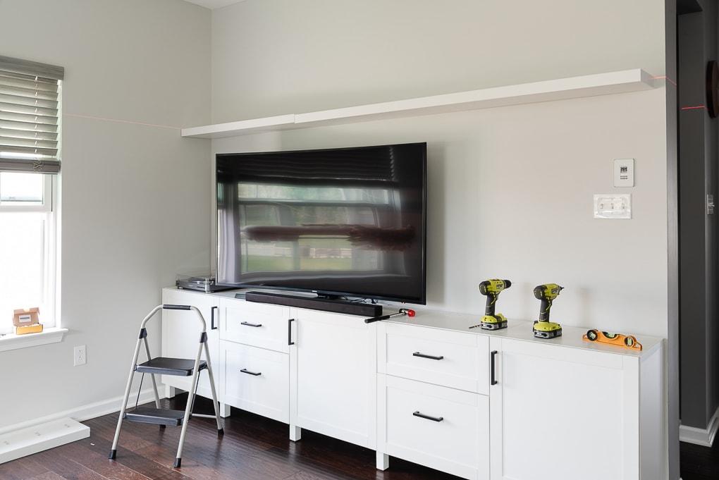 installing an IKEA LACK floating shelf large