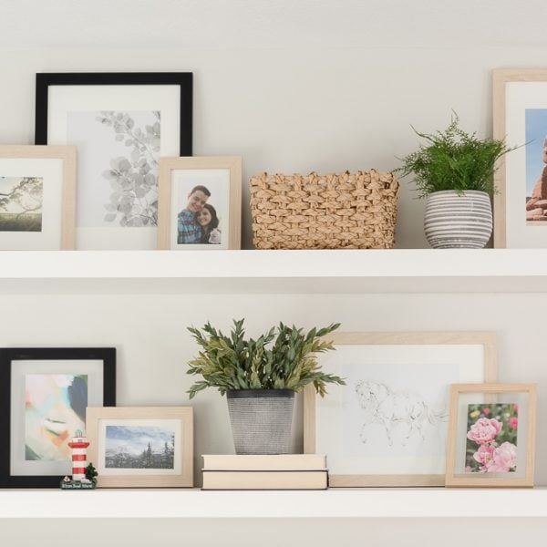 decorated IKEA LACK floating shelves in living room
