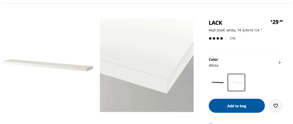 IKEA LACK shelves online website page
