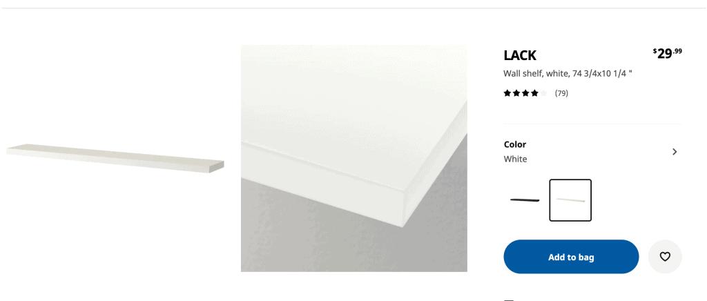 IKEA LACK shelves online website page