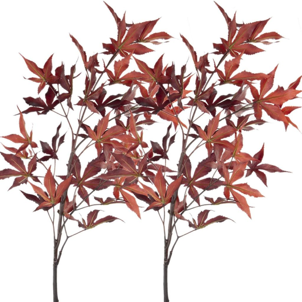 faux red leaves