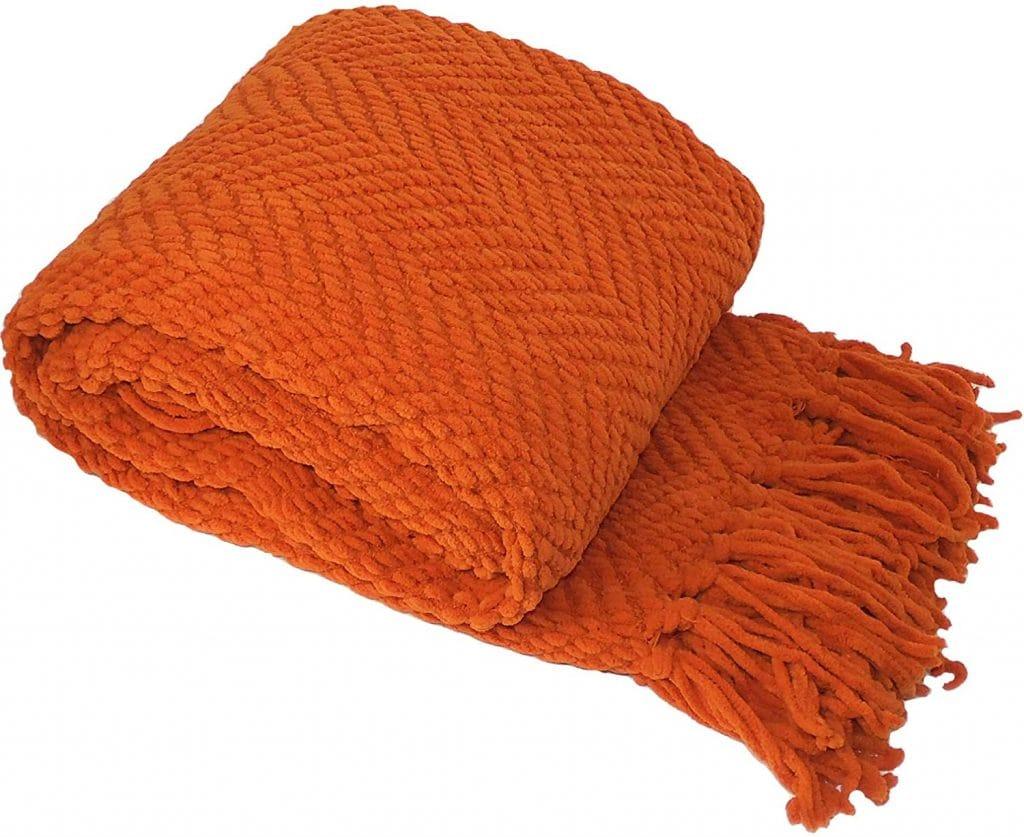 fall orange throw blanket