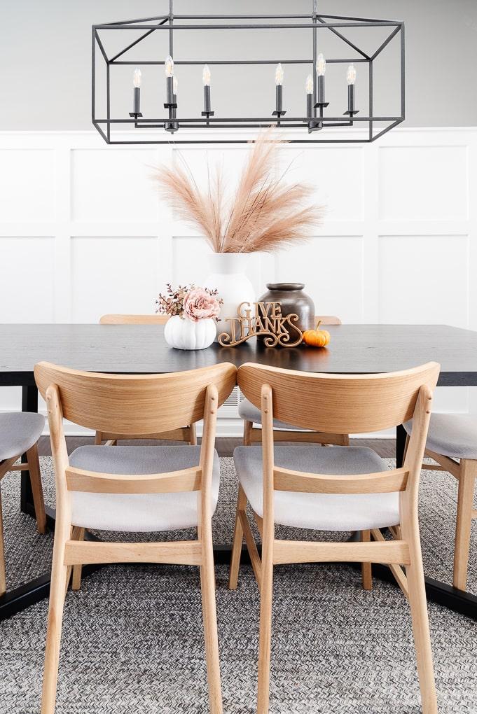 fall dining room table decor modern