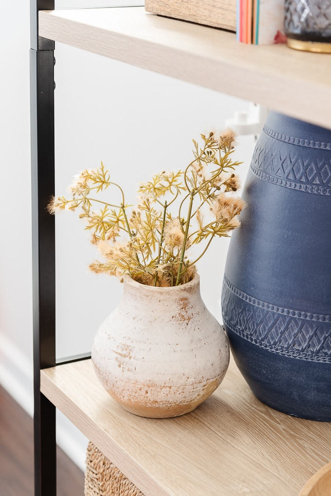 vintage brown distressed vase with fall florals