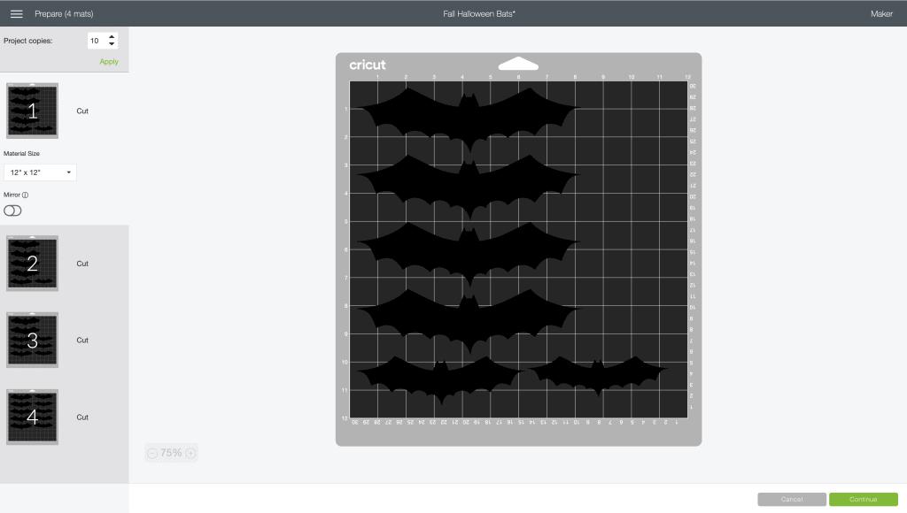 halloween bats cricut design space mat preview screen