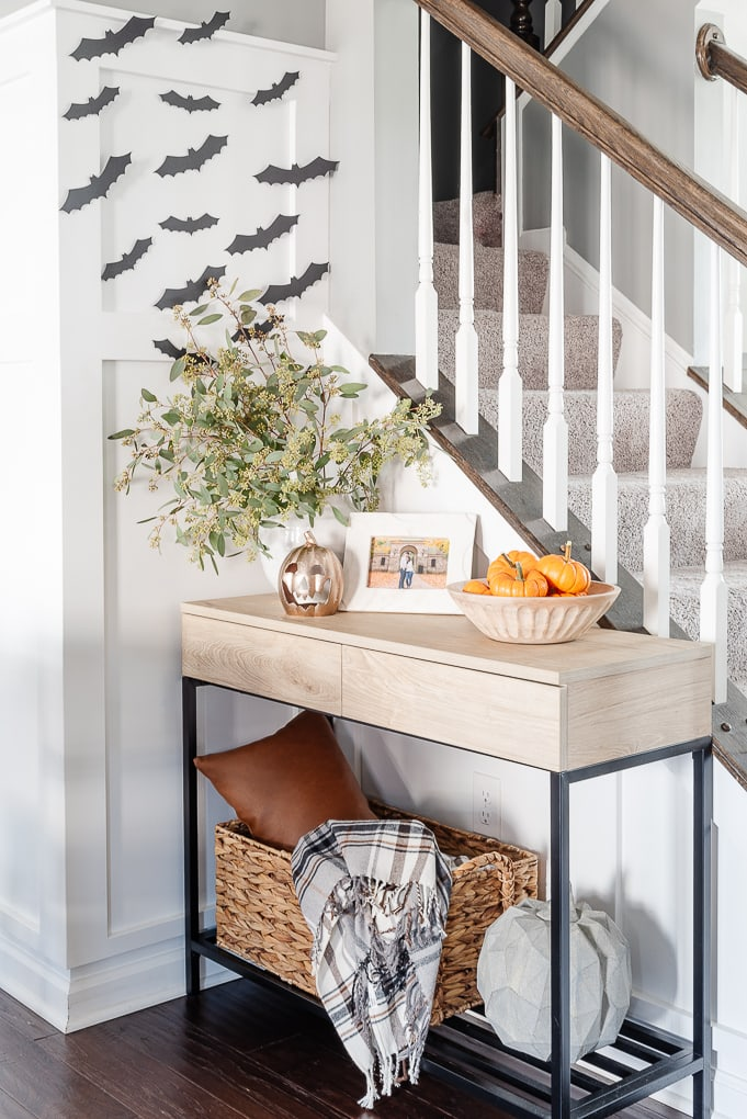 diy paper halloween bat decor on white wall
