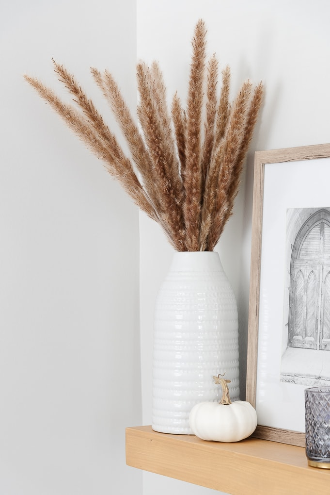 fall dried stems in white vase on shelf
