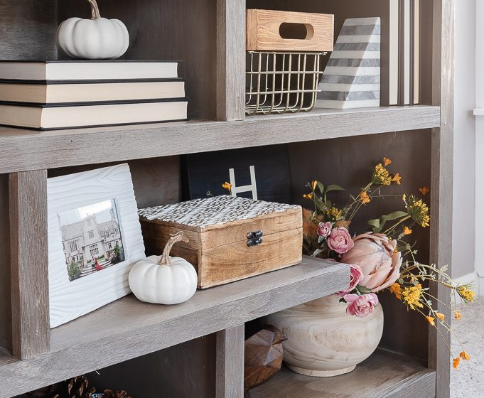 small white pumpkins on decorative bookshelves
