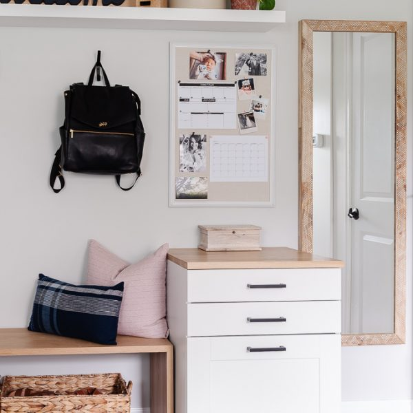 entryway command center made using an ikea cabinet
