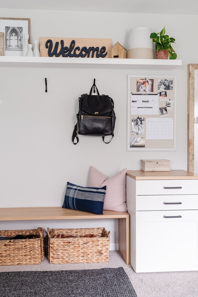 small mudroom and entryway command center area
