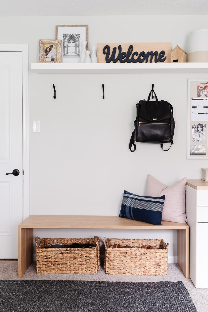 small entryway waterfall wooden bench